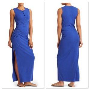 ATHLETA Blue rib henley maxi dress